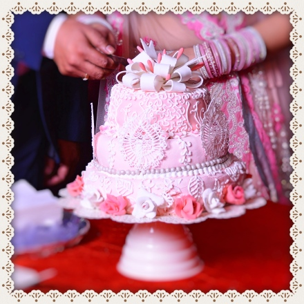 Pink and White Lace Cake